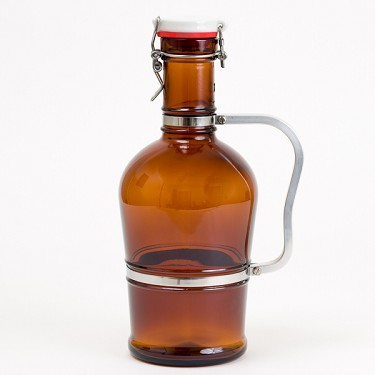 2L Glass Growler with Metal Handle